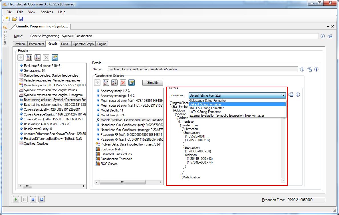 Featuresgenetic Programming Heuristiclab